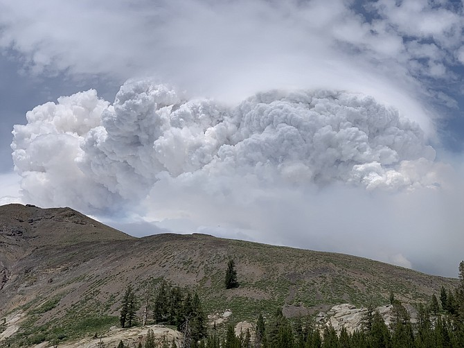 Michael Smith took this photo of the Tamarack Fire's smoke plume from Blue Lakes, which was evacuated on Monday.