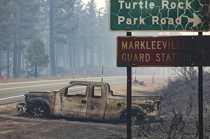 A truck that was parked along Highway 89 near the entrance to Turtle Rock Park was destroyed in the Tamarack Fire on Saturday night.