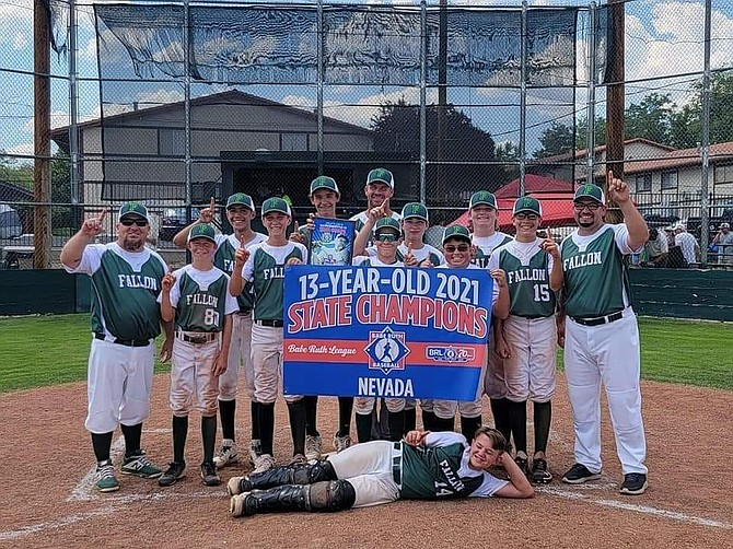 Fallon's 13-under team, which won the state tournament this month, will host the regional next week with the winner advancing to the Babe Ruth World Series. The team includes coaches Sean McNabb, Anthony Juarez and Jason Storm, and players Ryder McNabb, Anthony Juarez, Jackson Storm, Ryan Judd, Matthew Bird, Shane Hunt, Kayden White, Dustin Stritenberger, Luis Lopez and Chase Carnahan.