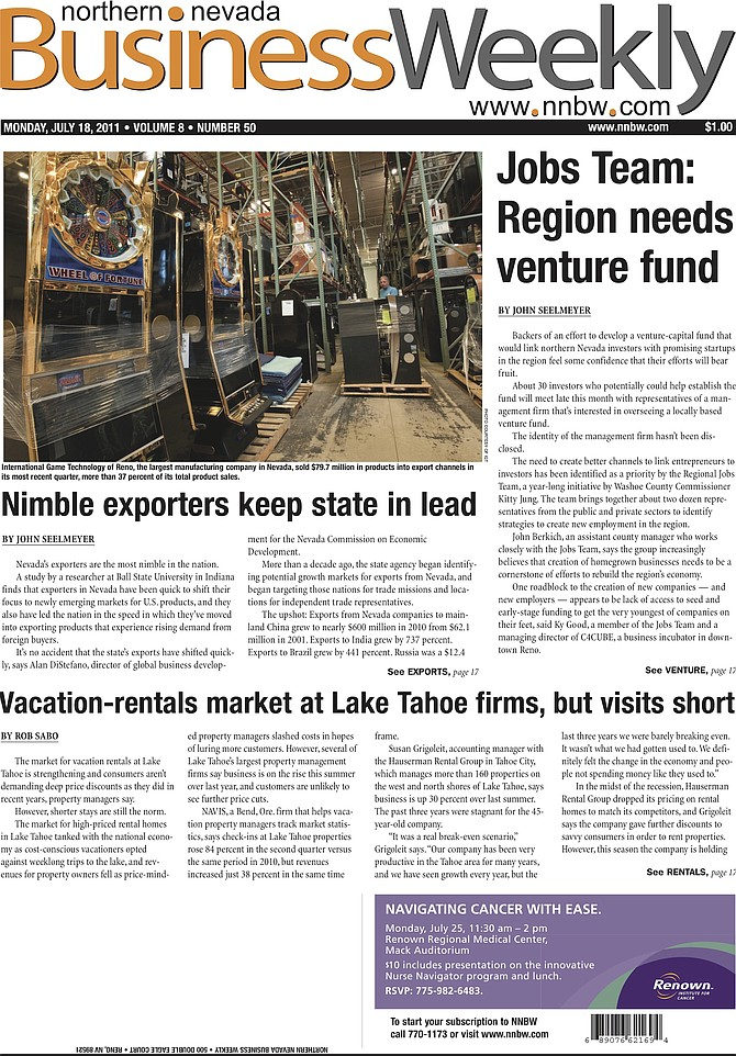 The cover of the July 11, 2011, edition of the Northern Nevada Business Weekly.
