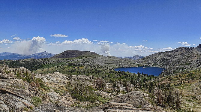 The Tamarack Fire from Carson pass above Winnemucca Lake. Because the Pacific Crest Trail is closed at the ranger station, photographer John Flaherty said he hiked from Woods Lake to reach this spot.