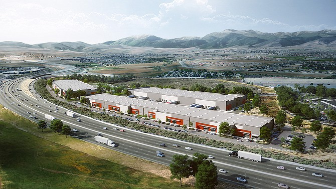 Overhead view of the Old Virginia portion of McKenzie Properties Management, Inc.'s South Reno Industrial venture — a six-building, 530,000-square-foot, Class A project spanning three key intersections in South Reno. Old Virginia, encompassing three buildings at 392,820 square feet, is slated for delivery in summer 2022.