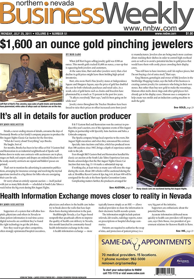 The cover of the July 25, 2011, edition of the Northern Nevada Business Weekly.