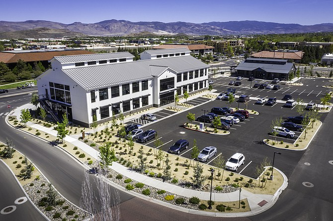 Overhead view of some of the office property at the Village at Rancharrah in South Reno.
