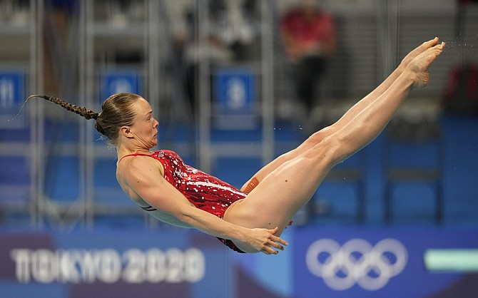 Krysta Palmer of the United States' competes in women's diving 3m springboard semifinal at the Tokyo Aquatics Centre at the 2020 Summer Olympics, Saturday, July 31, 2021, in Tokyo, Japan.