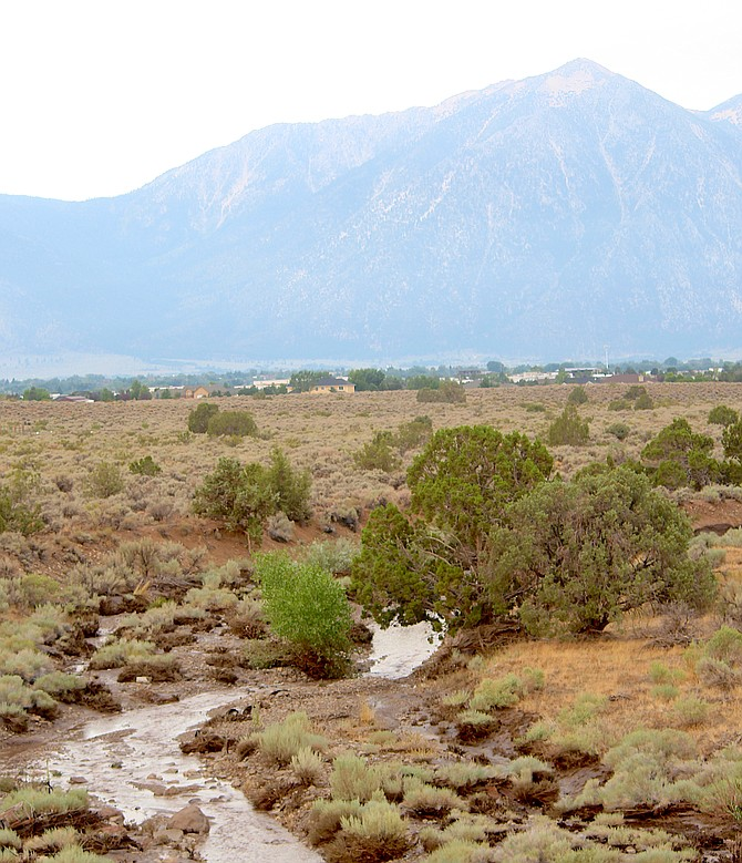 Pine Nut Creek winds its way into Carson Valley on Saturday morning after a thunderstorm caused flooding in Fish Springs.