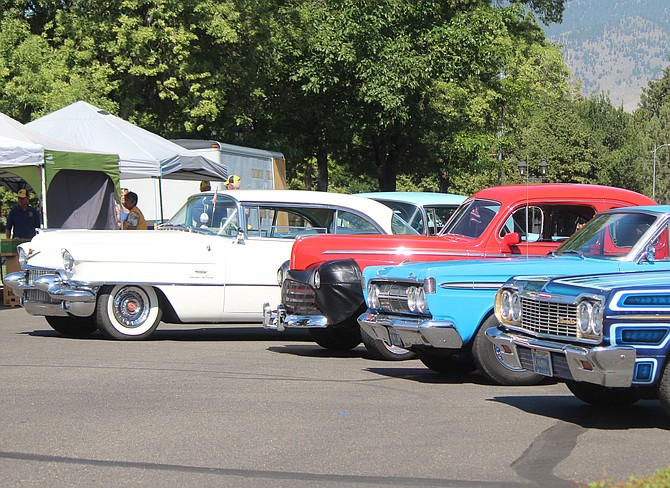 Classic cars line up at the 2019 Hot August Nights Poker Run in Minden.