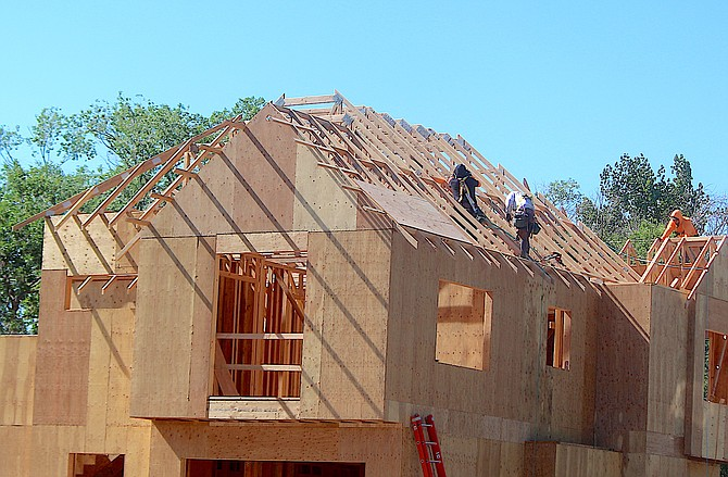 A home under construction in old Minden on Thursday.