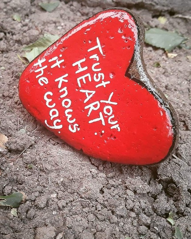 Tiffany Ellis painted this heart shaped and inspirational rock for the event. Special to The R-C
