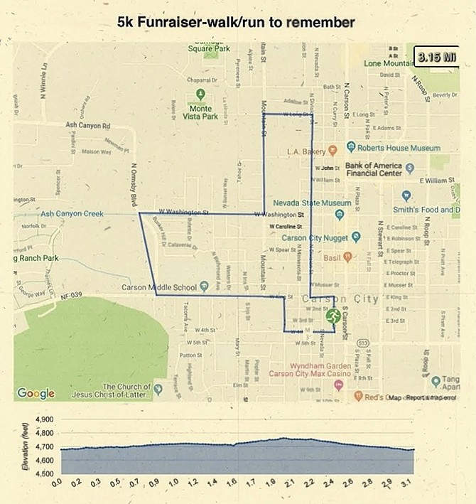 """""""A Walk/Run to Remember"""" participants will follow this 5-kilometer route through downtown Carson City."""