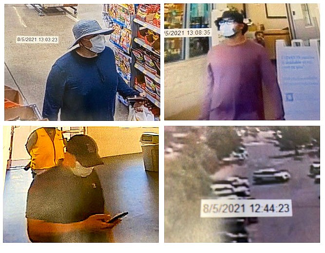 Security footage of three men sought in connection with an Aug. 5 purse snatching at Trader Joe's. Douglas County Sheriff's Office photos