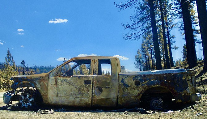 Bill Magladry's truck, just past the entrance to Turtle Rock Park, after the Tamarack Fire went through. Lisa Gavon photo