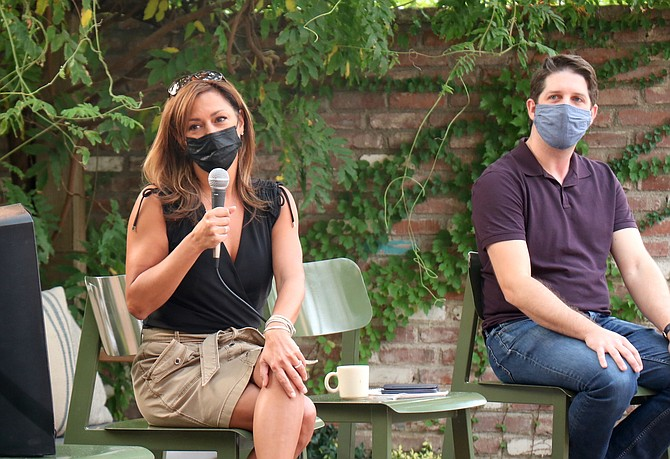 """Kaya Stanley, left, co-owner of Old Granite Street Eatery, Rue Bourbon and Rounds Bakery in Reno, moderates the Aug. 17 """"staffing emergency"""" forum in Reno, while Downtown Reno Partnership Marketing Manager Mike Higdon, looks on."""