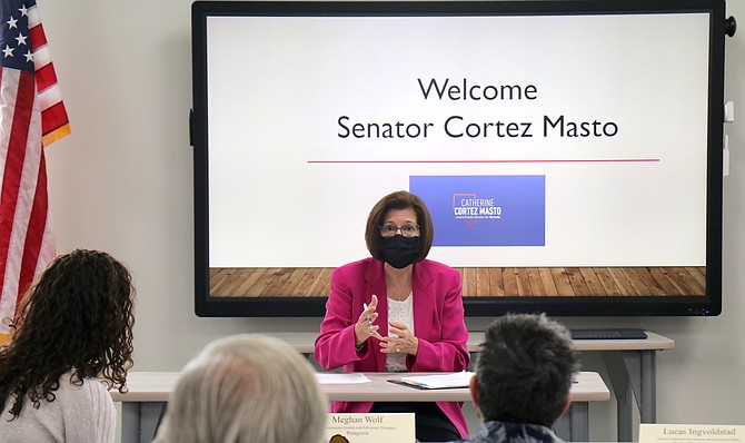 Democratic U.S. Sen. Catherine Cortez Masto speaks to a roundtable of clean energy stakeholders on Aug. 23 at the Reno + Sparks Chamber of Commerce.