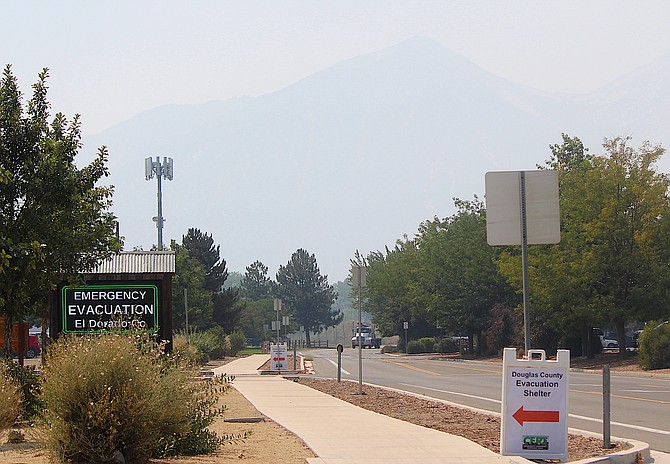 The Douglas County Community & Senior Center in Gardnerville is an evacuation center for the Caldor Fire burning six miles west of Echo Summit.