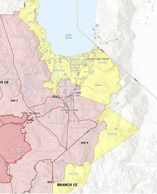 An evacuation map issued Sunday night that includes Alpine and El Dorado counties
