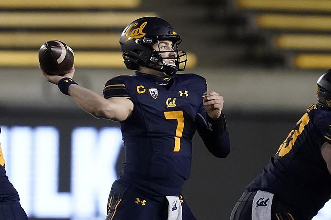 California quarterback Chase Garbers throws against Oregon on Dec. 5, 2020 in Berkeley, Calif. (AP Photo/Jeff Chiu, File)