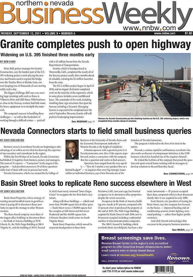 Cover of the Sept. 12, 2011, Northern Nevada Business Weekly.