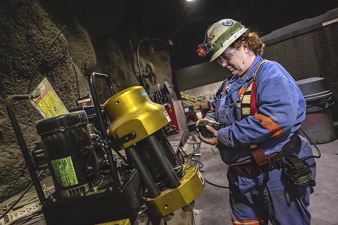 An employee of Nevada Gold Mines works a shift inside the Turquoise Ridge Mine located near Golconda, located in southeastern Humboldt County.