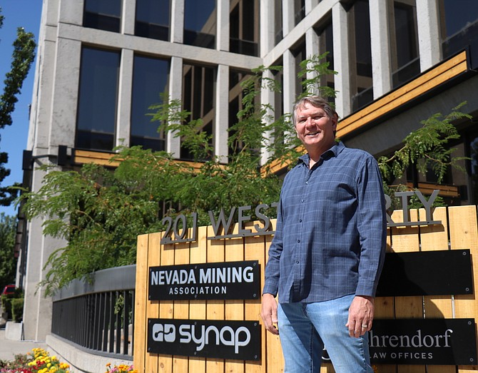 Darryl Rubarth, CEO at Synap, stands outside the company headquarters at 201 W. Liberty St. in Downtown Reno.