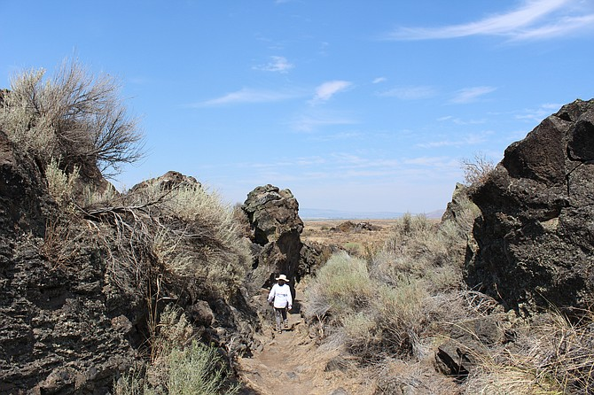 Trail leading through the lava rocks and formations at Captain Jack's Stronghold, where members of the Modoc tribe avoided U.S. troops for nearly six months.