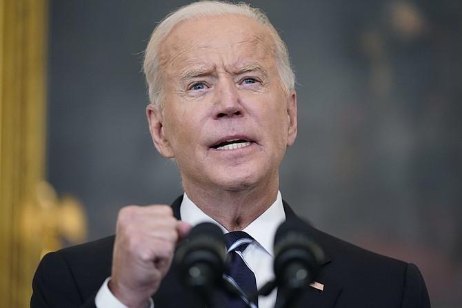 President Joe Biden speaks in the State Dining Room at the White House on Thursday, Sept. 9, 2021, in Washington. (AP Photo/Andrew Harnik)