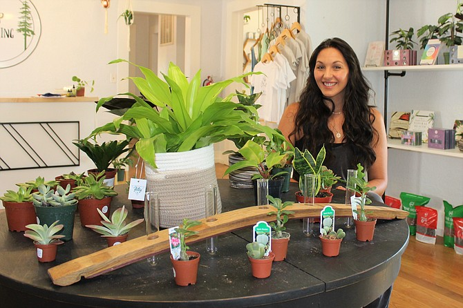 Keep Growing proprietor Sarah Longero-Durham poses with her healing plants in her new healing arts store at 403 N. Nevada St. in the heart of downtown Carson City. (Photo: Ronni Hannaman)