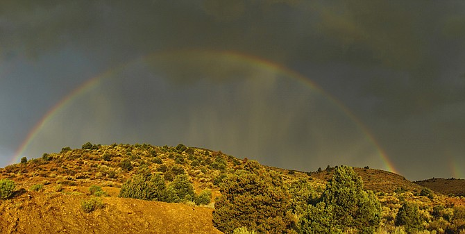 Topaz Ranch Estates resident John Flaherty took this photo of a rainbow from over Gold Hill on Friday morning.