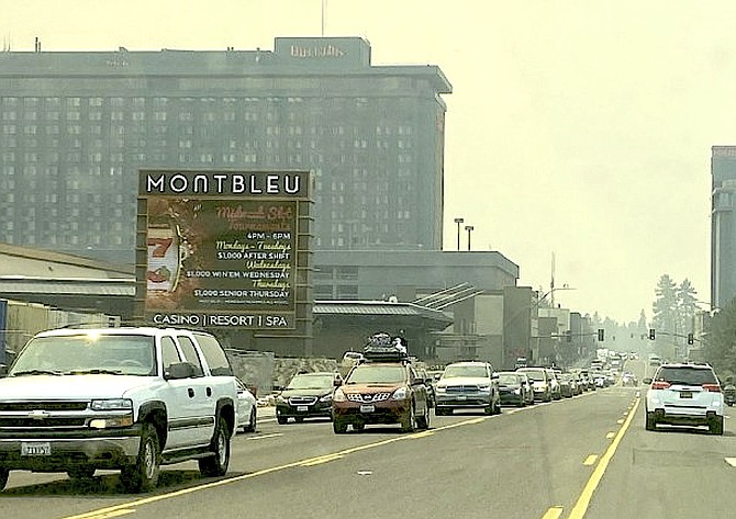Evacuees pass through Stateline ahead of the Caldor Fire in this Aug. 31 photo.