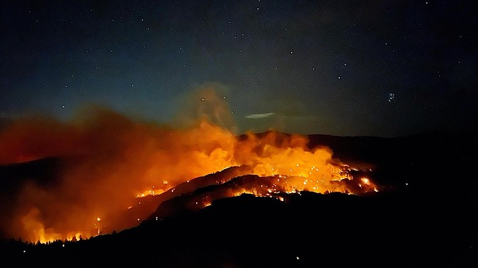 Caldor Fire on the evening of September 9, 2021 in Division QQ. U.S. Forest Service photo by Kaleena Lynde