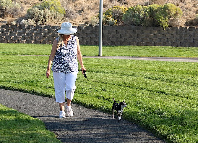 A dog walker enjoys the morning last week in the South Sunridge Park, which is dog friendly now, but could feature a dog park by next spring.