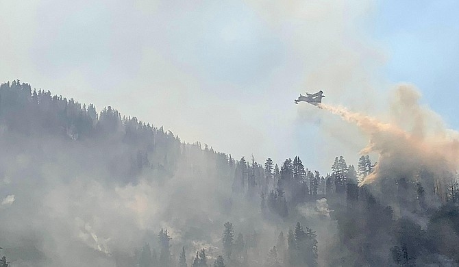 A super scooper in action over the Caldor Fire. U.S. Forest Service photo