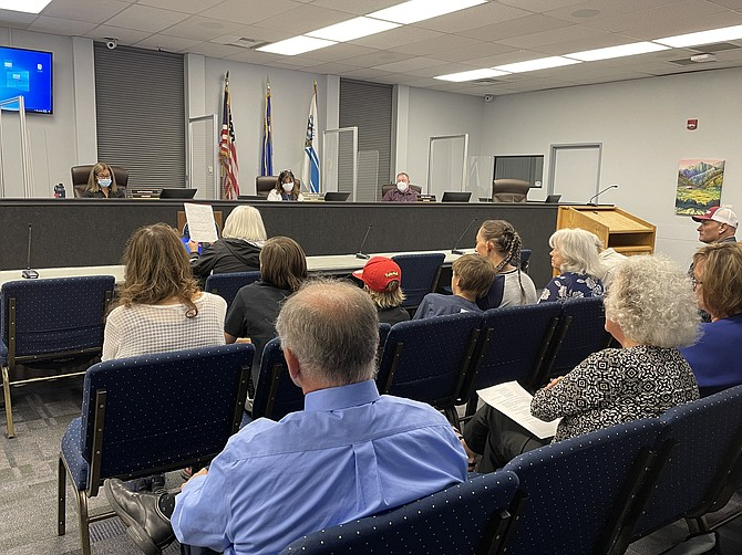 Carson City resident Joy Trushenski comments Tuesday on a proposed equity statement drafted by Superintendent Richard Stokes. The Carson City school board delayed action on the statement. (Photo: Jessica Garcia/Nevada Appeal)