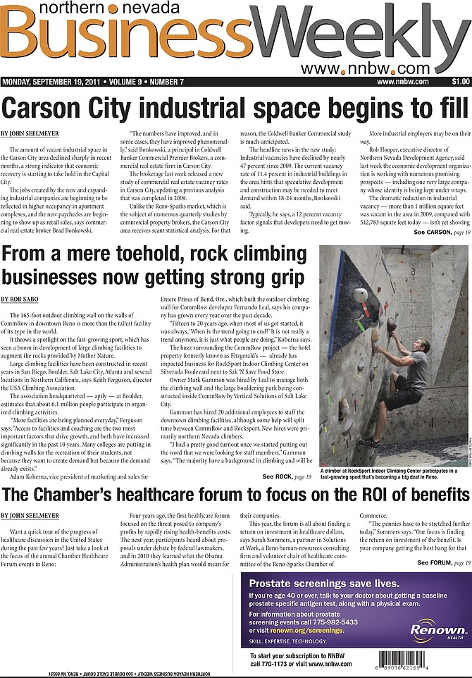 Cover of the Sept. 19, 2011, Northern Nevada Business Weekly.