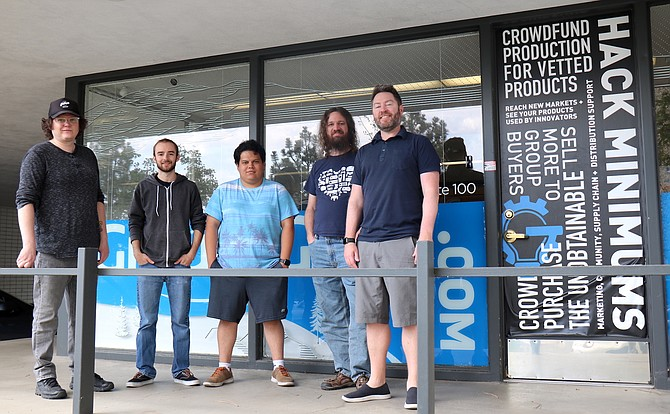 GroupGets staff stand outside the company's offices in Midtown Reno. From left: Matthew Navarro, Griffin Covert, Edwin Molina, Nate Penrod and Ron Justin.