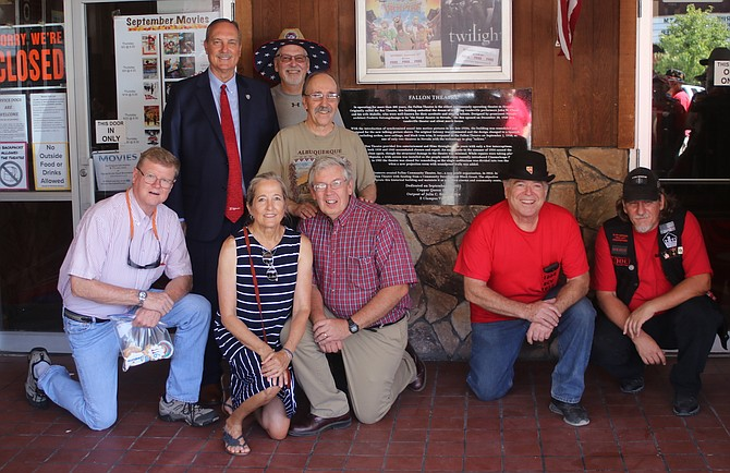 The Julia Bulette 1864 chapter and its outpost Copper Queen 1915 of E Clampus Vitus recognized the Fallon Theatre's centennial, which was Dec. 20, 2000, with a plaque. In the back are Mayor Ken Tedford, left, Mike Berney, center, and Dr. Stuart Richardson from the Fallon Community Theatre nonprofit organization. In front, from left, are Congressman Mark Amodei; City Councilwoman Karla Kent and Glen Perazzo, Fallon Community Theatre; and Joe Macduff and Scott Reed, the Julia Bulette 1864 chapter and its outpost Copper Queen 1915 of E Clampus Vitus.