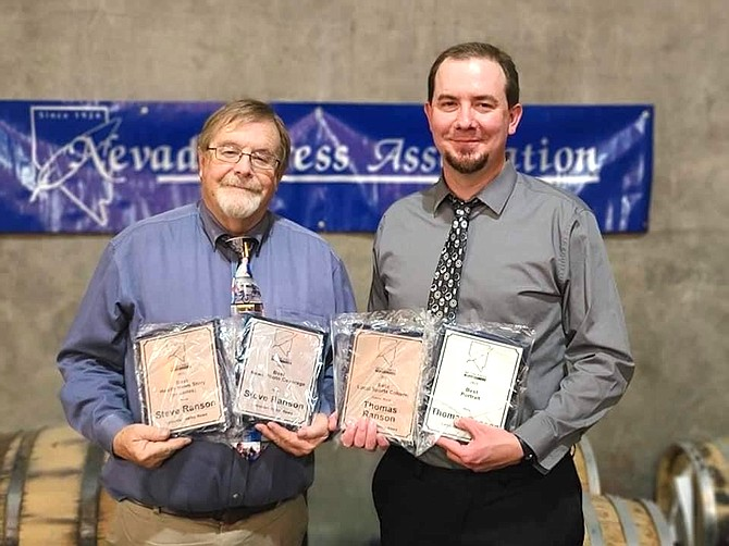 The Lahontan Valley News won 15 awards at Saturday's annual Nevada Press Association convention and awards presentation. Thomas Ranson, right, had the top sports column in the state for all newspaper divisions in addition to receiving Best Portrait photo for rural newspapers. Editor Emeritus Steve Ranson earned first-place awards in Health News Story (or series), News Photo Coverage and Business Feature.