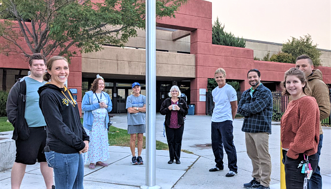 CHS teachers, local pastors, and one student meet at 7 am for See You at the Pole Sept 22.