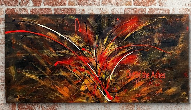 Vicki Kawelmacher's painting inspired by the Caldor Fire