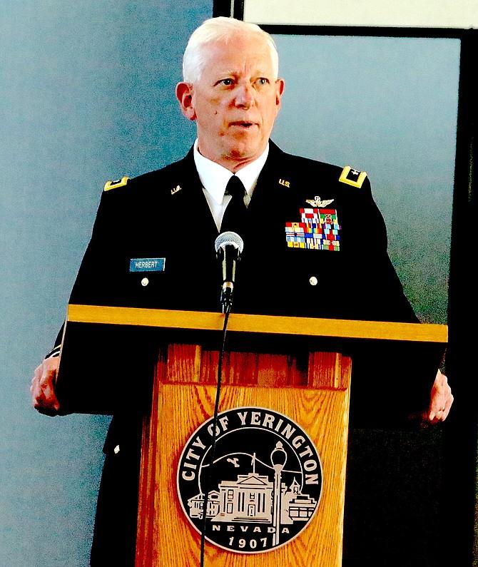 Retired Nevada Army National Guard Maj. Gen. Robert Herbert speaks at a dedication ceremony in Yerington in March 2021. (Photo: Steve Ranson/LVN)