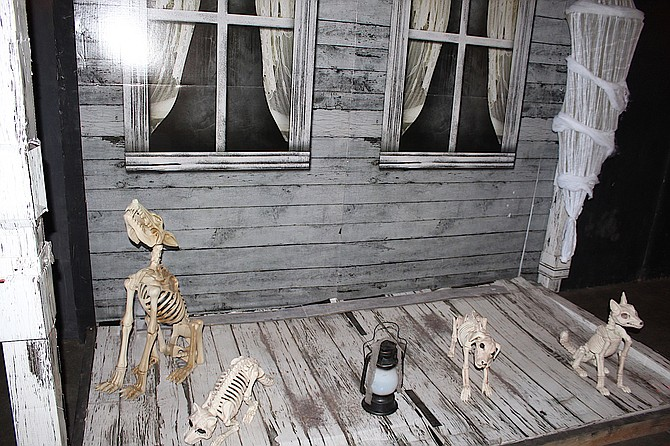 A pack of skeleton dogs greet visitors to last year's Fright at the Fairgrounds.