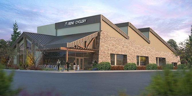 A rendering of the Reno Cyclery project, which will include the construction of a 9,793-square-foot bike shop, two mixed-use buildings, and a 3-acre recreation area.