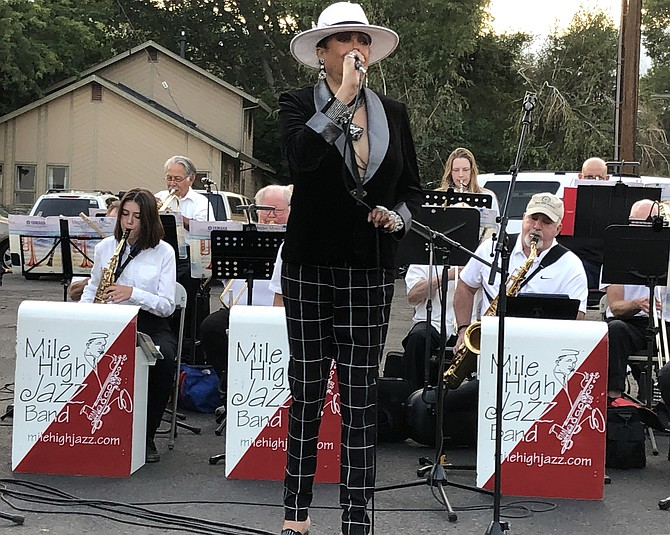Jakki Ford performing with Mile High Jazz Band on Sept. 14, 2021.