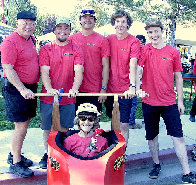 """Taking first place in the Oct. 2 Coffin Races was """"Death Trap."""" Gardnerville residents Cathy Reuter was the driver, Bill Reuter, Connor McRae, Tobin McRae and Jeremy Aleman made up the team."""