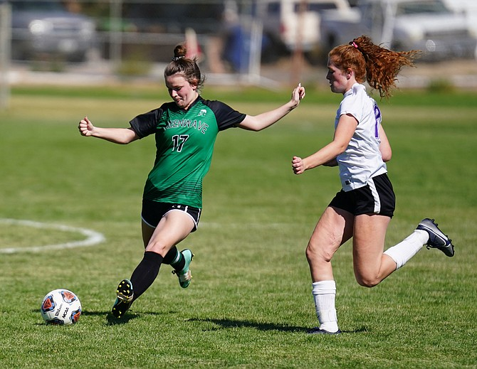 Fallon's Lillian Howard drives the ball against Spring Creek in Saturday's 3A East league game.