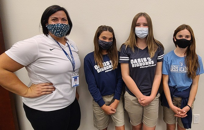 Oasis Academy's Middle School student government, from left, adviser Lauren Kelly, Lakota Casey, Lea Williams, Kaylee Craig and not pictured is Hazel Mackedon.