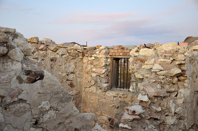 Ruins of the former Bullfrog Jail, one of the few remnants still standing in the old mining camp of Bullfrog.