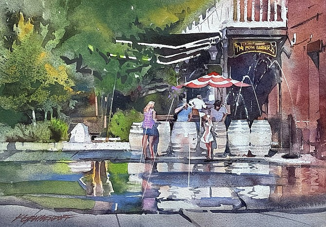 """Kristi Grussendorf's watercolor rendition of McFadden Plaza. She will host a watercolor painting demonstration, """"En Plein Air,"""" on Saturday, Oct. 16 at 3 p.m. in the Brewery Arts Center's performance hall, 449 W. King St. Submitted"""
