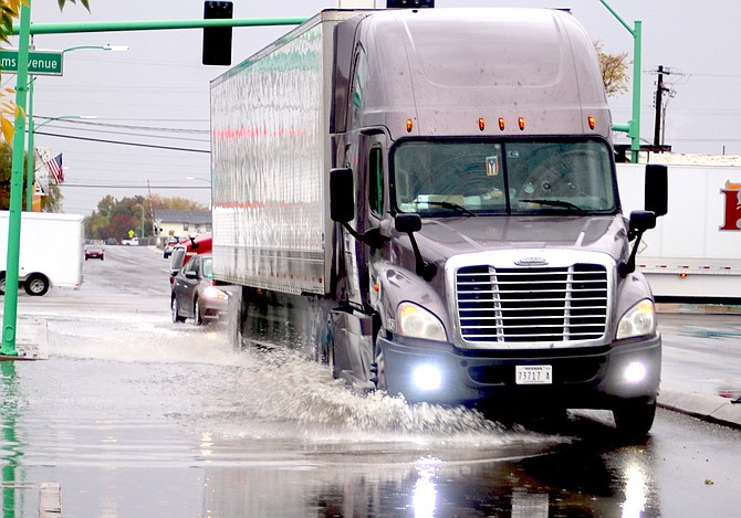 Water from Friday's rainstorm pooled up along curbs throughout certain parts of Fallon.