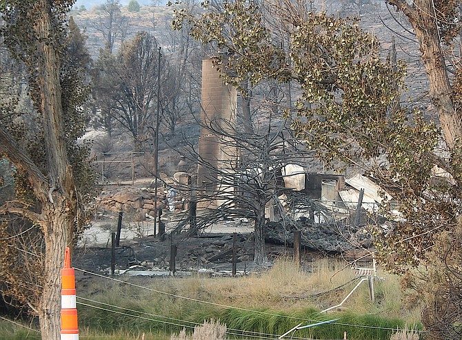 One of the homes destroyed in the Tamarack Fire along Highway 395.